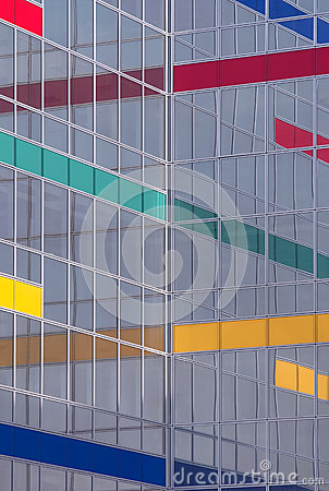 Free Glass Building With Color Stripes Royalty Free Stock Photo - 40291775