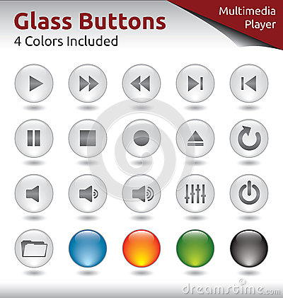 Free Glass Buttons - Multimedia Player Royalty Free Stock Photography - 32455267