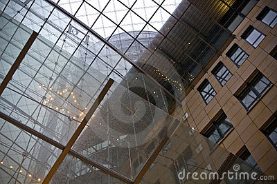 Glass ceiling in building