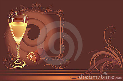 Glass with champagne and chocolate candies. Card
