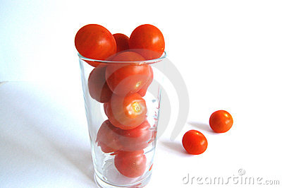 Glass of cherry tomatoes