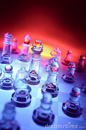 Glass chess and color backdrop