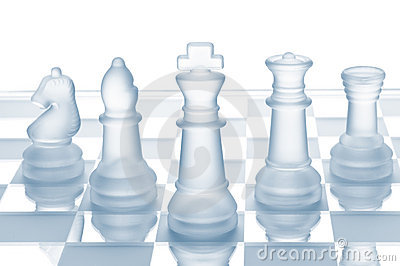 Glass chess isolated on white