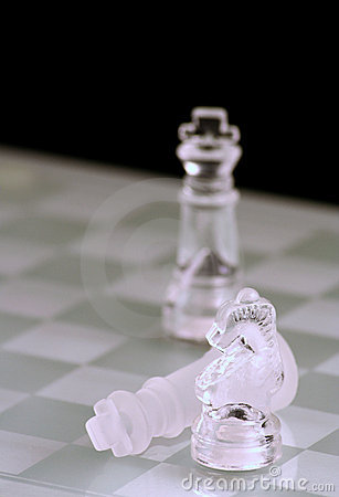 Glass chess king and knight