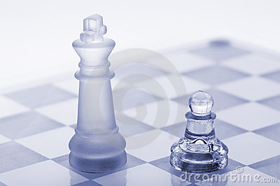 Glass chess. A pawn and a king