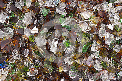 Glass Chips From Broken Wine Bottles