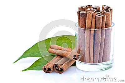 Glass of cinnamon sticks