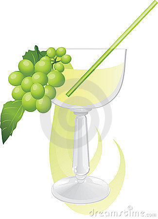 Glass with cocktail and green grape