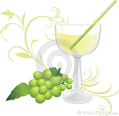Glass with cocktail and sprig of green grape