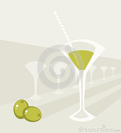 Glass with cocktail and two olives