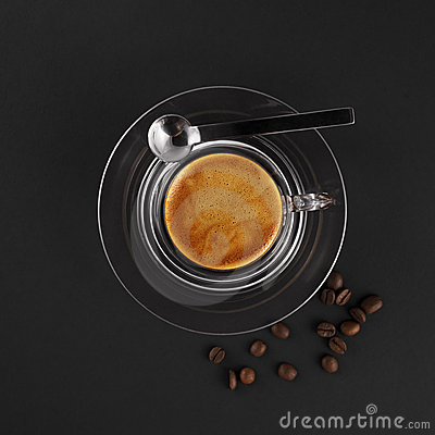 Glass coffee cup with fresh made espresso