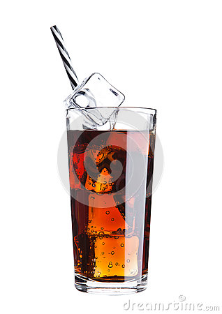 Glass of cola soda drink cold with ice cubes Stock Photo