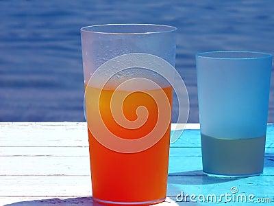 Glass of cold orange juice