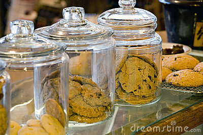 Glass Cookie Jars in a Coffee Shop