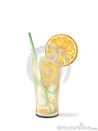 Glass cool lemonade and orange slice
