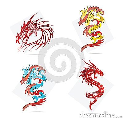 Glass creative elegance dragons  symbols set