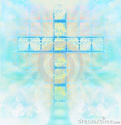 Glass cross in sky