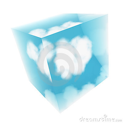Glass cube with cloud inside