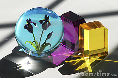 Glass Cubes and Paperweight