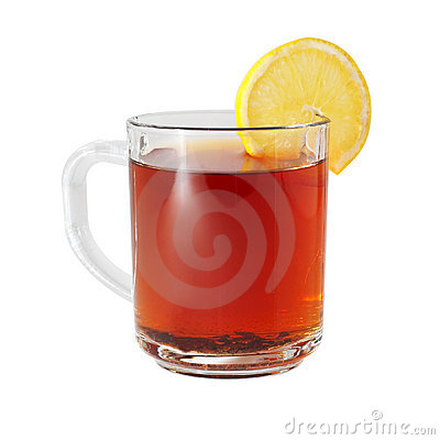 Glass cup with black tea and lemon