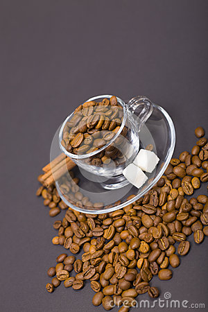 Glass  cup and coffee beans