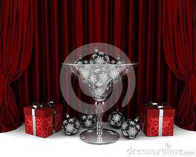 Glass cup with New Year decorations and gifrts