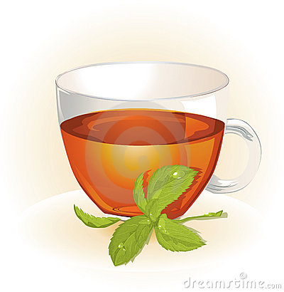 Glass cup of tea with mint