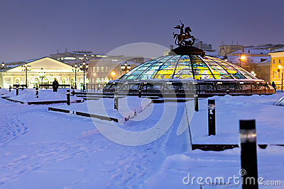 Glass cupola on Manege square, Moscow