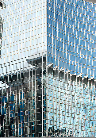 Glass curtain wall on the building