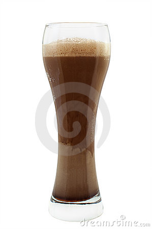 Glass of dark ale or stout beer isolated on white