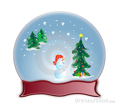 Glass dome snow globe and snowman
