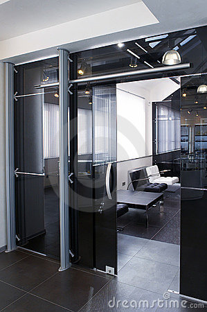 Free Glass Doors In The New Office Stock Images - 12784354