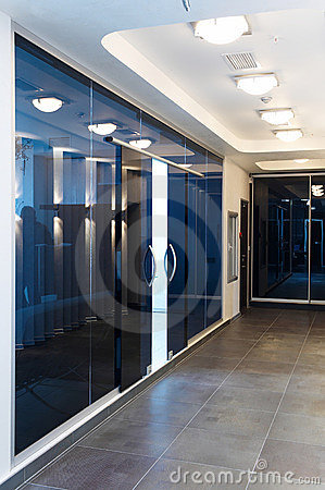 Free Glass Doors In The New Office Stock Image - 12784411