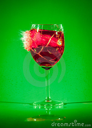 Glass with drink by bullet