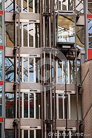 Glass elevator on building