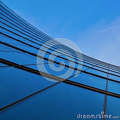 Glass facade of an office tower