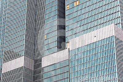 Glass facade of skyscrapers
