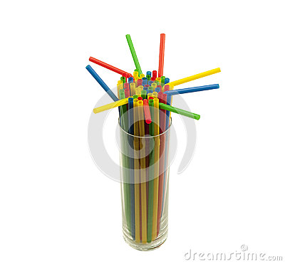 Glass filled with straws