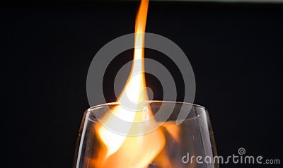 Glass with fire