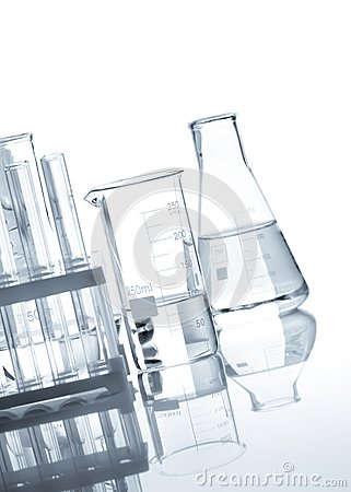 Glass flasks with a clear liquid