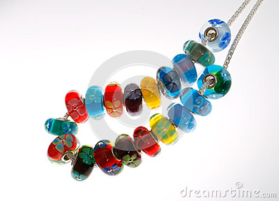Glass Floral Beads on Chain
