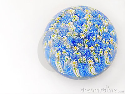 Glass flowers paperweight