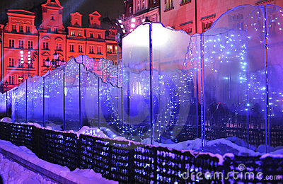 Glass fountain on Silvester Eve in Wroclaw
