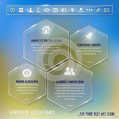 Glass frames with simple icons - infographics temp