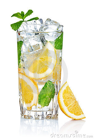 Glass of fresh cool water with lemon