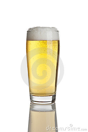 Glass of fresh lager beer