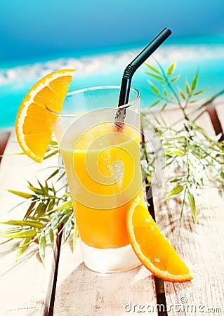 Glass of fresh refreshing orange juice