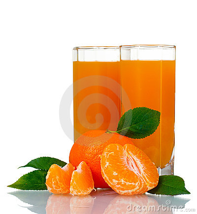 Glass of fresh tangerine juice