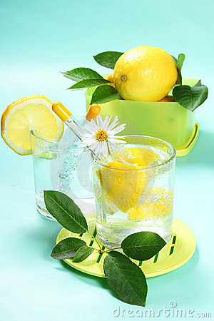 Glass of fresh water with lemon