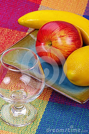 Glass and fruits